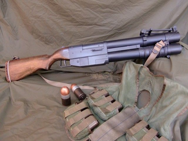 China Lake Pump-Action Grenade Launcher) is a pump-action grenade launcher that was developed by the Special Projects Division of the China Lake Naval Weapons Center, which provided equipment to Navy SEALs. Most likely less than 50 ever produced.