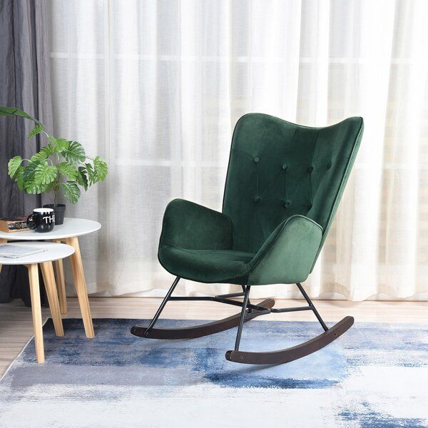 This Rocking Chair Is Foam Padded With The Arms At An Ergonomically Designed Height To Make It In 2020 Rocking Chair Nursery Modern Rocking Chair Green Rocking Chair