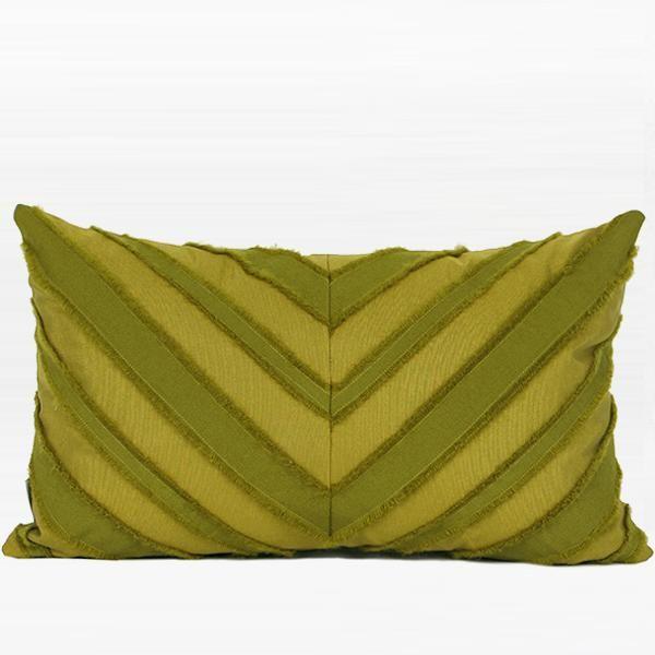 "Wasabi Green Tassel V Stripe Textured Pillow 12""X20"""
