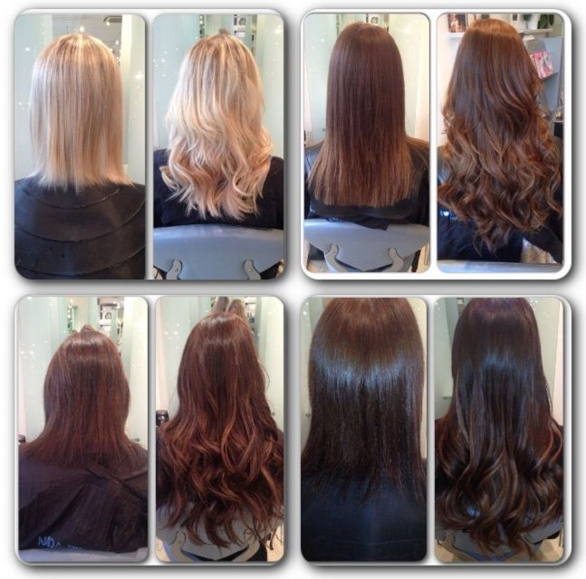 before and after rapture hair extensions curled using the ghd