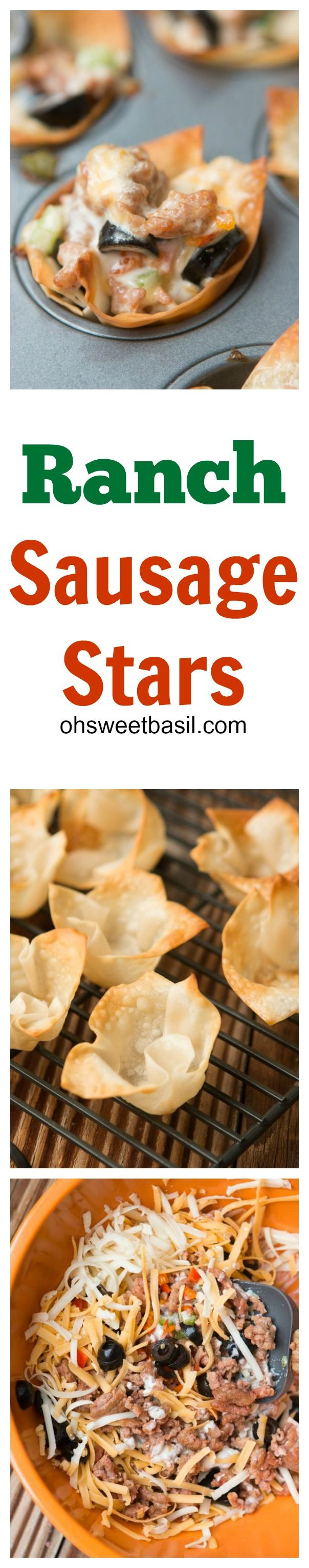 One of the best appetizers for the superbowl or any other get together, ranch sausage stars! ohsweetbasil.com