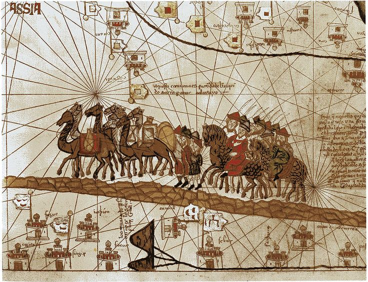 A closeup of the Catalan Atlas depicting Marco Polo traveling to the East during the Pax Mongolica http://www.medievalists.net/2014/07/07/travel-travelers-medieval-eurasia/