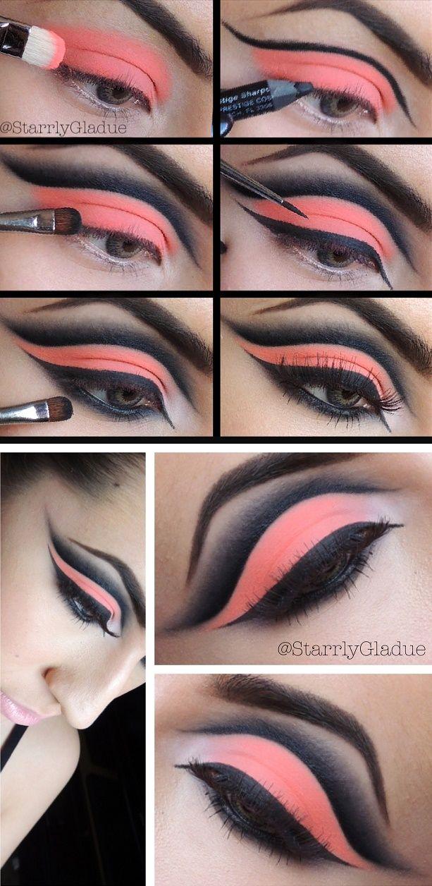 Stunning Neon Orange Eye-Makeup Tutorial
