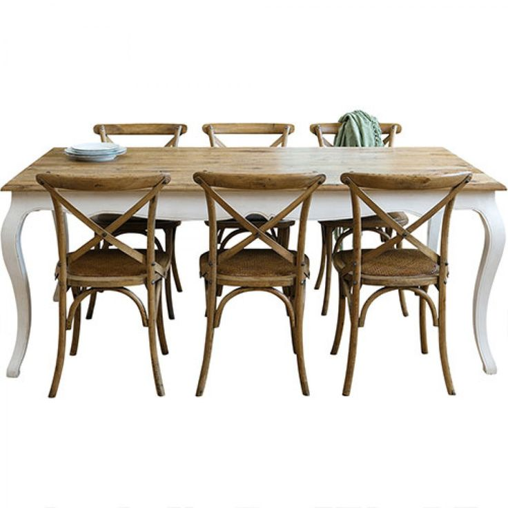 Provincial Oak Table White with 6 Cross Back Chairs Oak Package - Packages - Dining