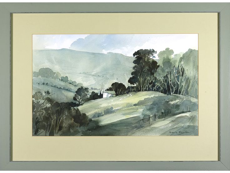 'Valley Landscape' by Ivan Taylor. Original watercolour. Signed & framed.