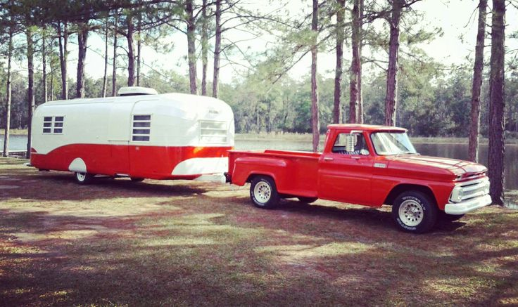Wow... Check out this 1965 Avion 25' COMBO with 1965 Chevy C10... Fully restored... Bee-you-tee-full! Image: FB vintagecampertrailers #vintage #camping #travel