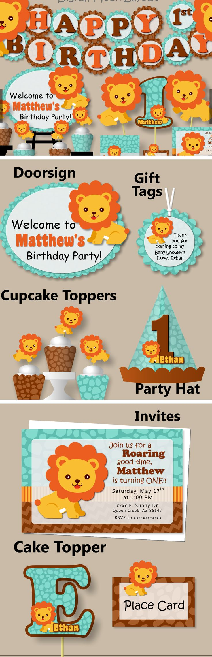 Lion Birthday Party or Baby Shower Decorations #bcpaperdesigns