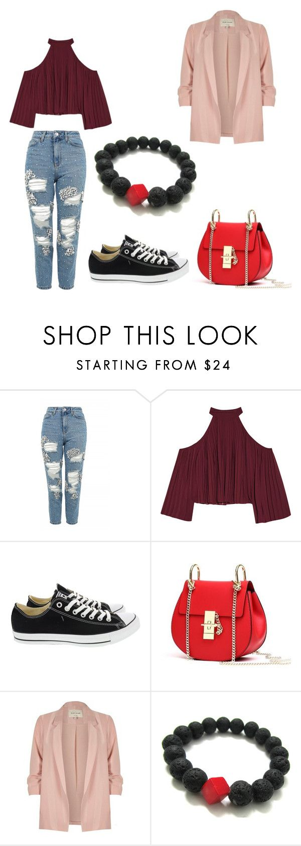 fashion by mary-minge on Polyvore featuring W118 by Walter Baker, River Island, Topshop, Converse and red