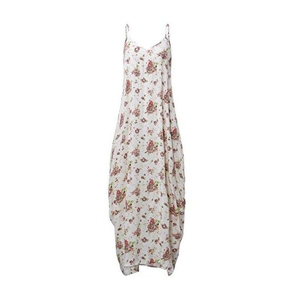 ZANZEA Sexy Women V Neck Strap Sleeveless Floral Print Casual Summer... ❤ liked on Polyvore featuring dresses, summer beach dresses, beach maxi dress, white boho dress, sexy white dresses and floral summer dresses