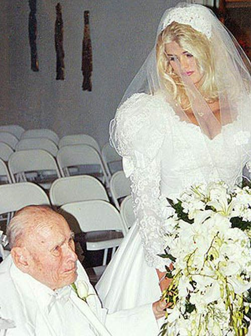 Anna Nicole Smith and J. Howard Marshall. Out of pure respect for this lady i will pin this picture as i believe love knows no bounds and that she realy did love him. Mr B.