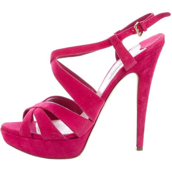 Pre-owned Miu Miu Suede Platform Sandals (£93) ❤ liked on Polyvore featuring shoes, sandals, pink, strappy sandals, miu miu sandals, suede shoes, pink suede shoes and pink strappy sandals