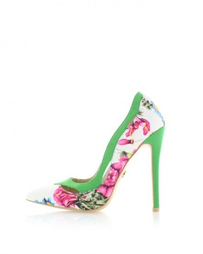 Zeleno-biele kvetované lodičky Gardena
