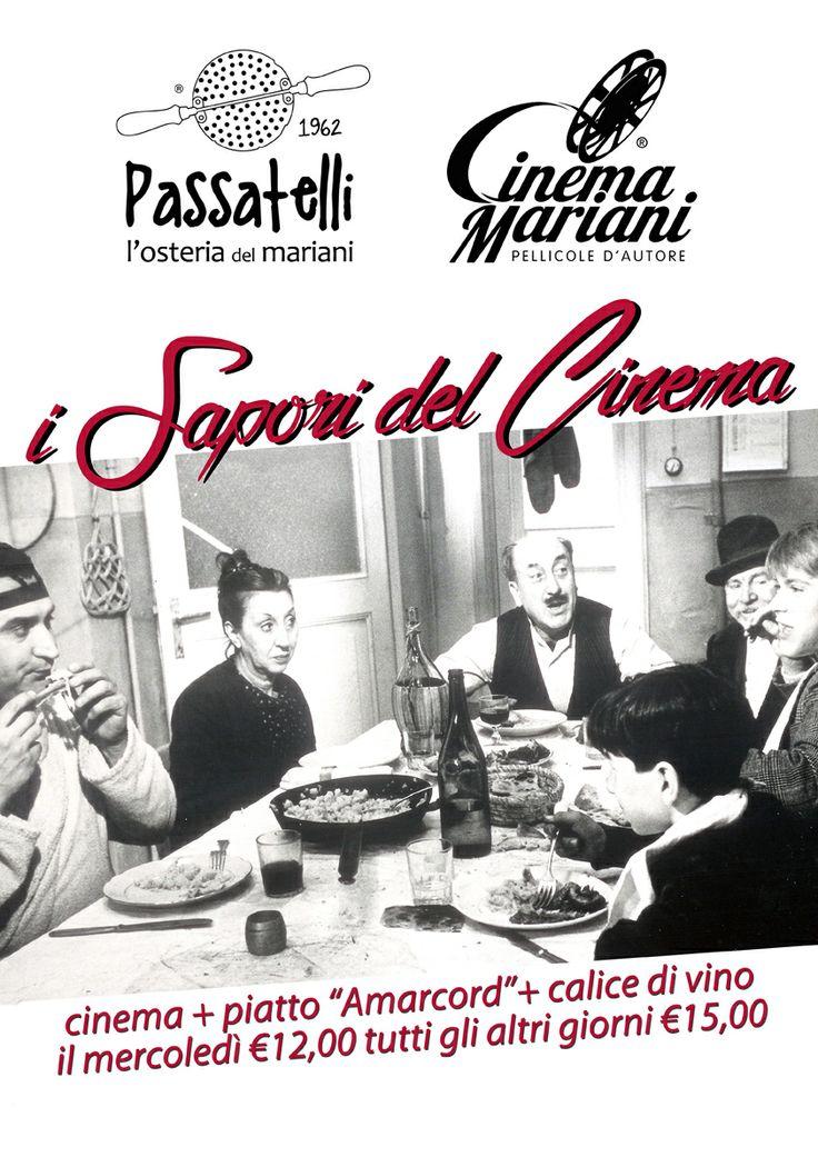 I sapori del Cinema, ogni giorno Ingresso al Cinema + Piatto Amarcord + Calice di vino a soli € 15,00... il mercoledì a € 12,00