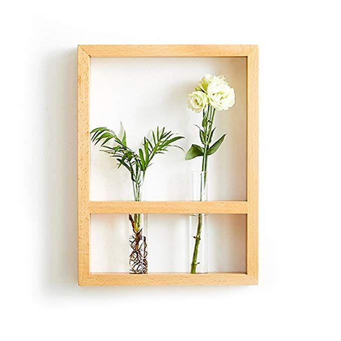 Wall Mount Hanging Flower Vase Plant Holder With Frame 11 Lx2 Wx15h Hanging Vases Plant Holders Flower Vases