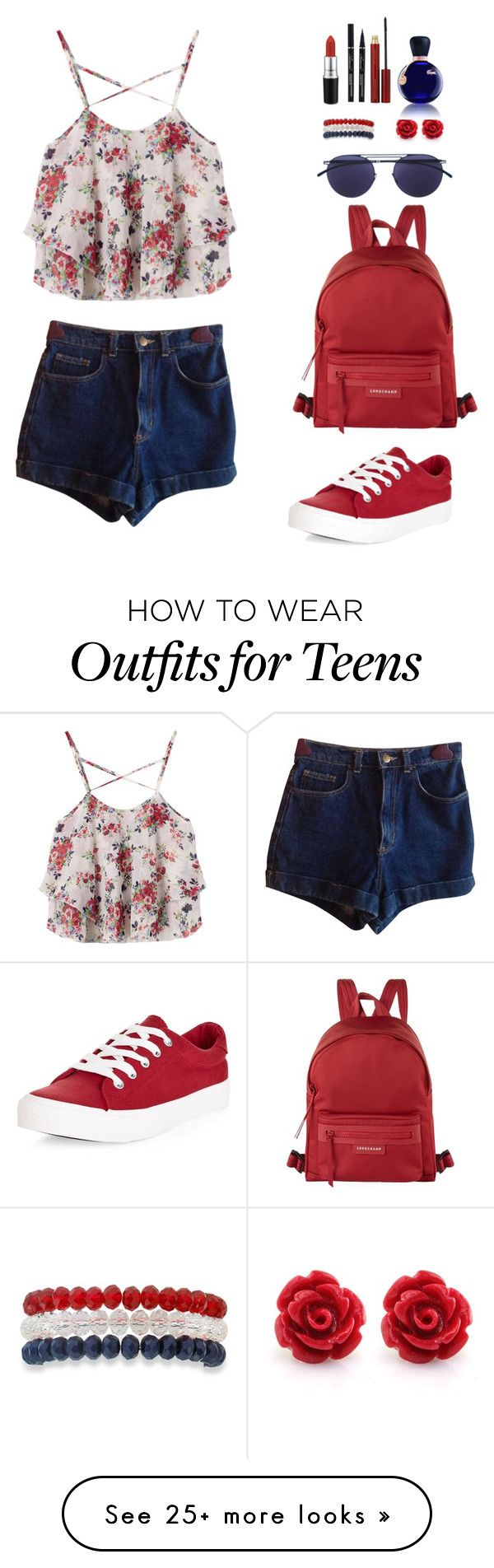 """Ruuufffflleess"" by elefeceleke on Polyvore featuring American Apparel, New Look, Longchamp, Mykita, Kim Rogers, MAC Cosmetics, Kevyn Aucoin, Lacoste and ruffles"