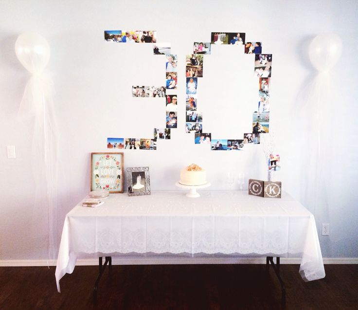 My parents 30th Anniversary party: cake table, 30 years in photos. Decor by me!