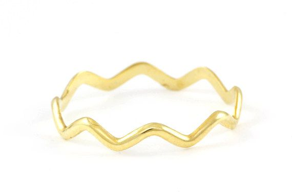 Wavy Ring Zig Zag Ring Dainty Gold Ring Simple Gold Ring