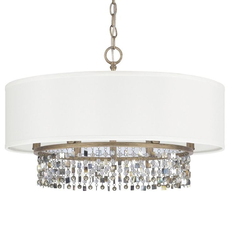 Shell And Crystal Drum Shade Chandelier