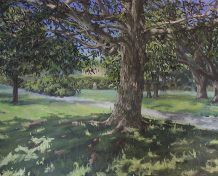 Alex L. King - Oil on Canvas #painting #oil #tree #landscape #light #house #park