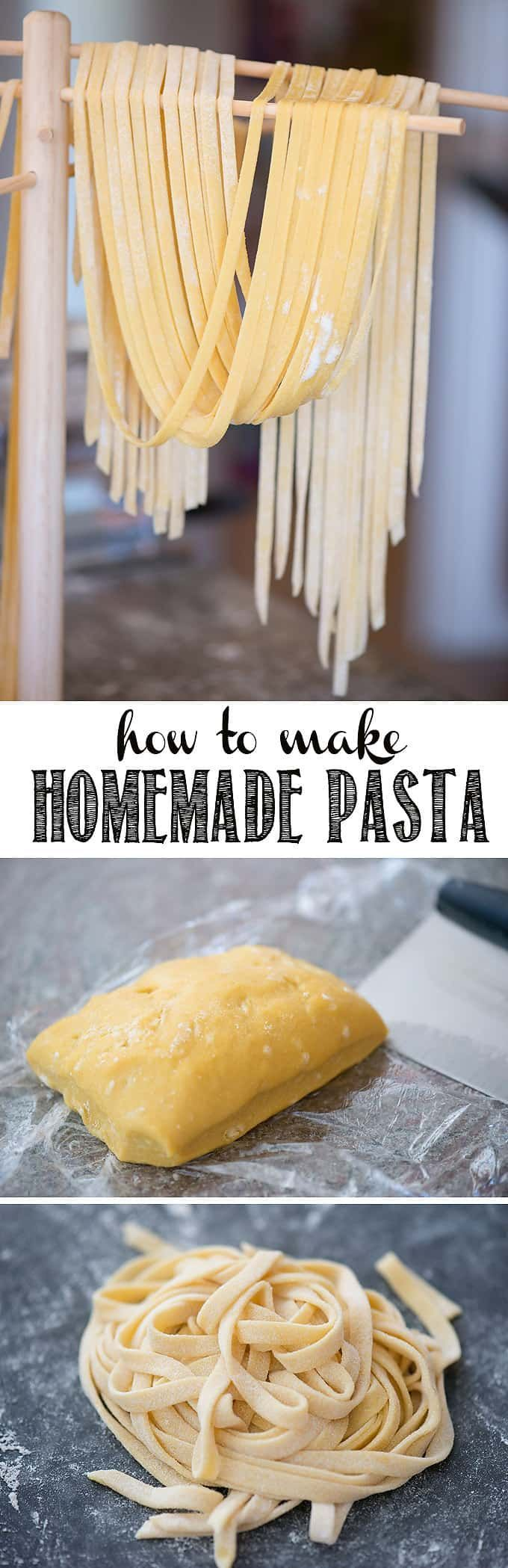 Homemade Pasta is not only fun and easy recipe to make in your own kitchen, but nothing compares to the taste and texture of fresh homemade pasta. Whether you want to knead and cut the dough by hand, or you use a kitchenaid to mix and a roller to flatten and cut, I'll share all of my homemade pasta tips & tricks! #pasta #homemadepasta