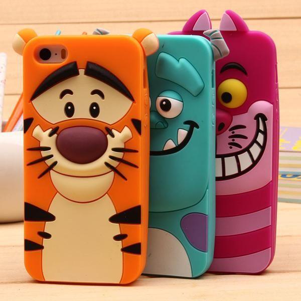 Cute Sulley Tiger Alice Cat Silicon Phone Cases For Samsung S3 S4 S5 Mini S6 S7 A3 A5 A7(2015)(2016) And For iPhone 4S 5S 6S 7 Plus