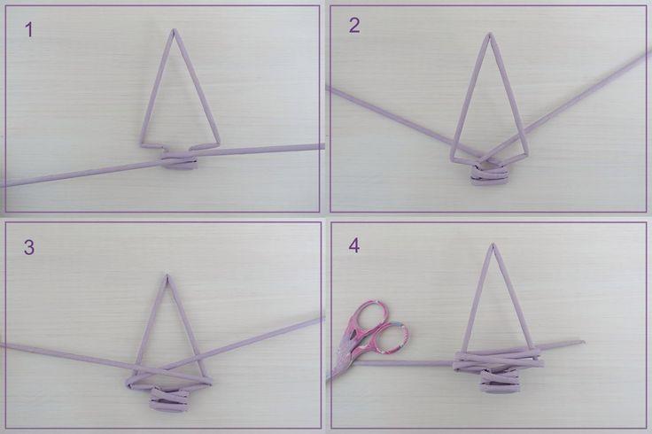 Декоративная подвеска-елочка из бумажных трубочек