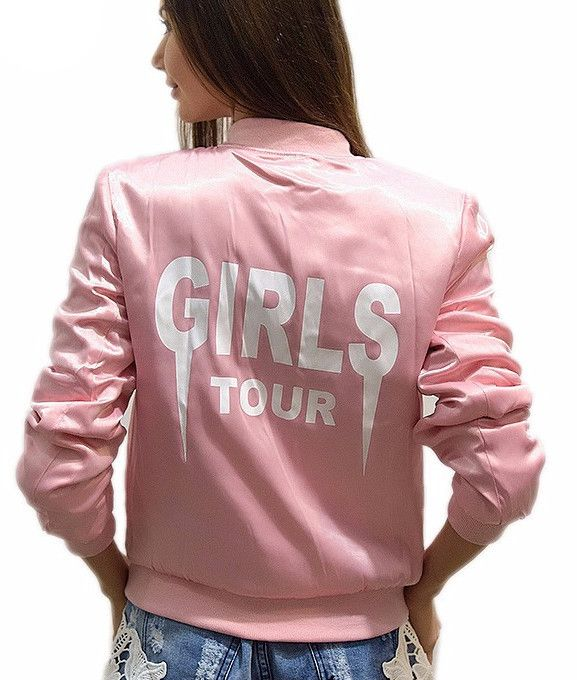Girls Tour Blush Pink Satin Bomber Jacket  #sweater #stud #booties #obsessed #cozy #leggings #fashion #clothing #chic #boho #trend #trendy #trending #ootd #musthave