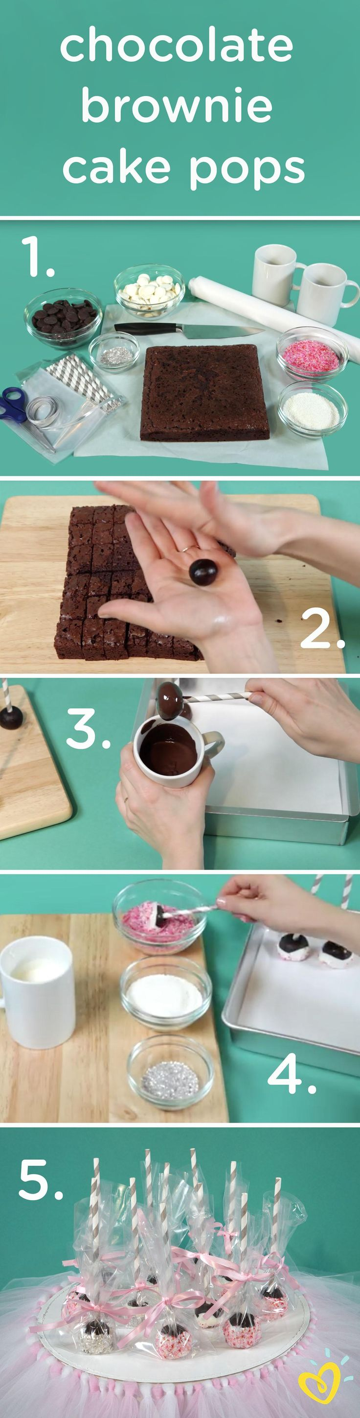 """Sweeten up your baby shower or toddler's birthday party with these adorable and delicious chocolate brownie cake pops or """"princess brownie wands."""" This step-by-step video will show you how to make this recipe and wrap it beautifully in cellophane and a bow!"""