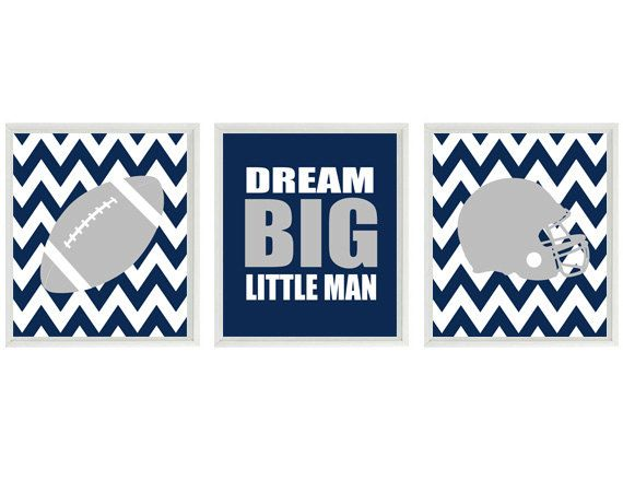 Football Nursery Wall Art, Baby Boy Nursery, Dream Big Little Man Quote, Chevron Print, Gray Navy Blue, Football Wall Art, Football Room