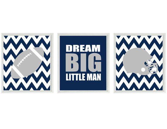 Football Nursery Wall Art, Baby Boy Nursery, Dream Big Little Man Quote, Chevron Print, Gray Navy Blue, Football Wall Art, Football Room