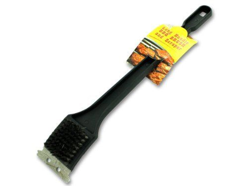 """Barbecue brush with scraper - Pack of 72 by Bulk Buys. $76.79. Width: 15. Great Gift Idea.. Dimensions:. Height: 15. Length: 15. Barbecue brush and scraper helps maintain the life of outdoor grills. Comes with an extra long handle to get into hard to reach places. Scraper helps remove cooked on grime. Has sturdy metal bristles that get even the toughest messes clean. Has a convenient hanging hole for simple storage solutions. Measures 18"""" long. Dimensions:. Le..."""