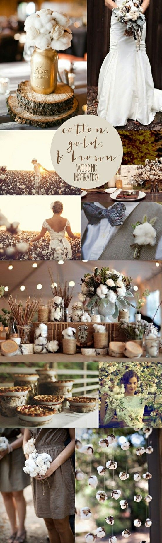 Cotton, gold, and brown wedding inspiration. Re-pin if you like. Via Ellesilk.com #wedding