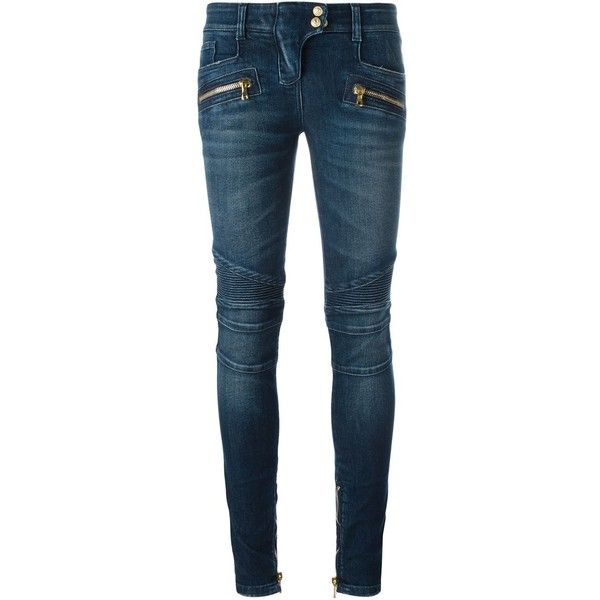 Balmain Jeans With Zip and Buttons ($865) ❤ liked on Polyvore featuring jeans, navy, zip jeans, navy blue jeans, zipper jeans, 5 pocket jeans and biker jeans