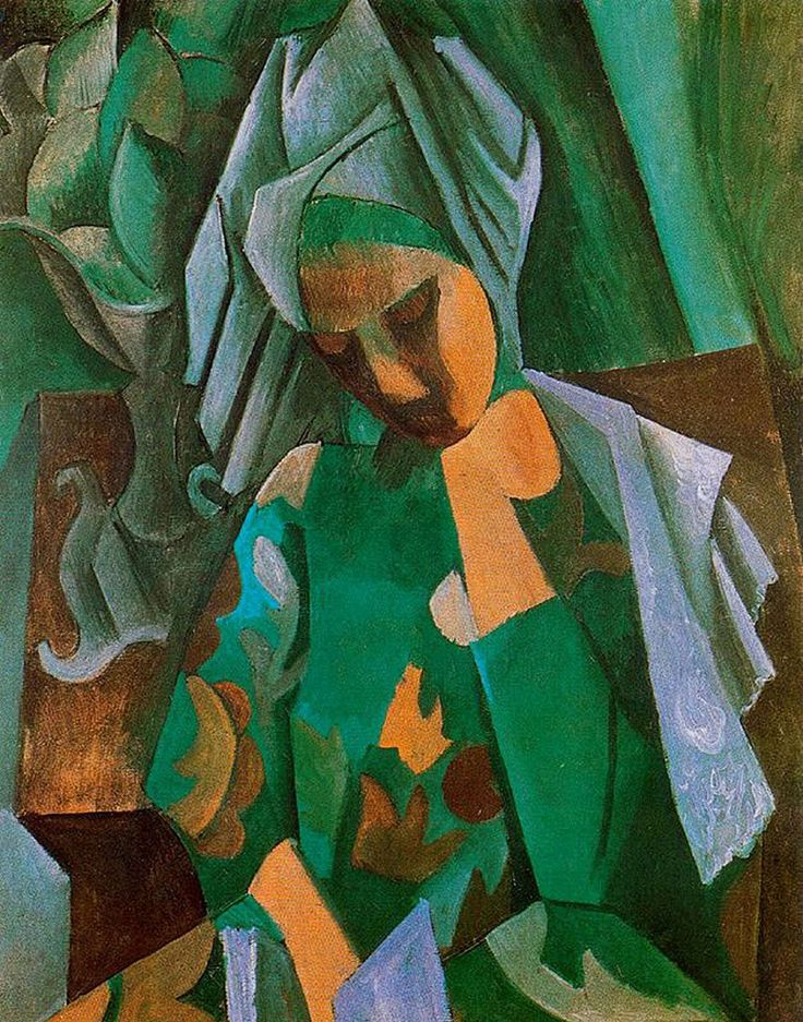 Pablo Picasso.  Queen Isabella.  1908. In Paris, Picasso entertained a distinguished coterie of friends in the Montmartre and Montparnasse quarters, including André Breton, poet Guillaume Apollinaire, writer Alfred Jarry, and Gertrude Stein. Apollinaire was arrested on suspicion of stealing the Mona Lisa from the Louvre in 1911. Apollinaire pointed to his friend Picasso, who was also brought in for questioning, but both were later exonerated.