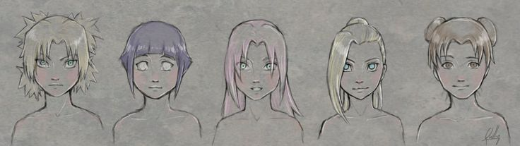 Some sketches of the girls from the Naruto series. Individual pictures of the girls are here: Temari: quill-q.deviantart.com/art/Nar… Tenten: quill-q.deviantart.com/art/Nar… Ino...