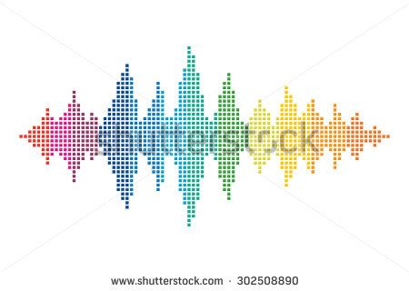 Colorful sound wave made of small squares. Rainbow color sound vector.