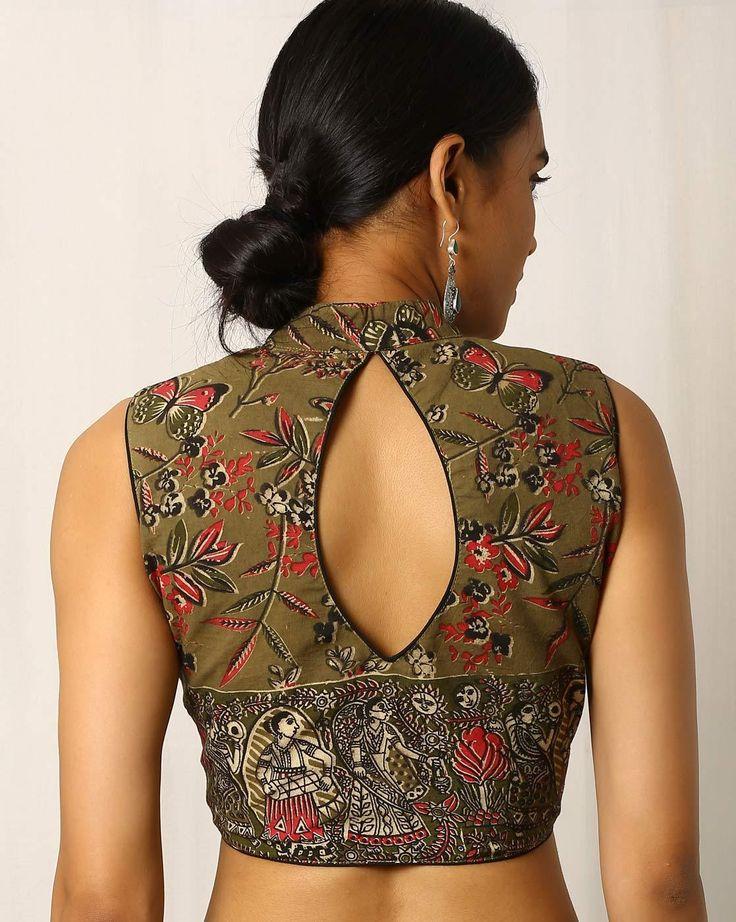 Buy Olive Green Indie Picks Kalamkari Print Sleeveless Cotton Blouse