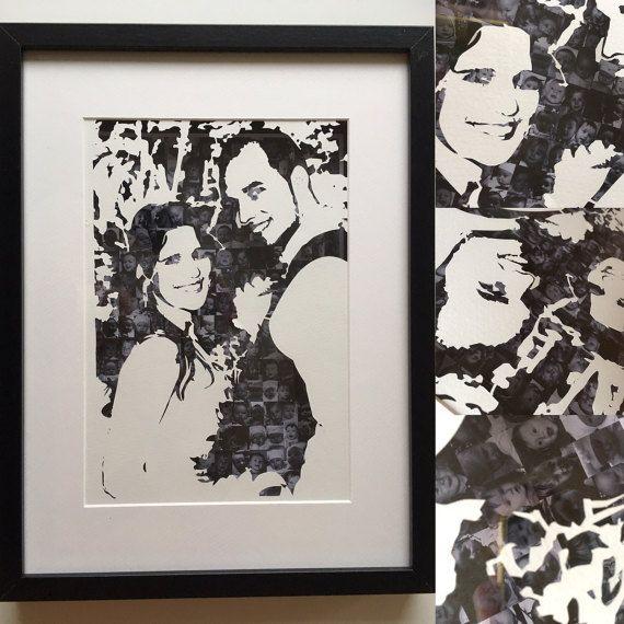 Wedding picture paper cut with b/w picture by PapirKlippKompaniet