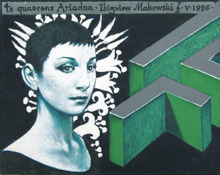 Zbigniew Makowski | <i>TE QUAERENS, ARIADNA, ..., 1996</i> | akryl, płótno naklejone na dyktę | 40 x 50 cm