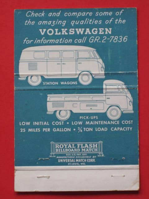 VW ad in an old matches