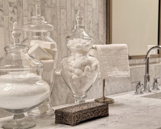 Use apothecary jars in the bathroom for a touch of glamour