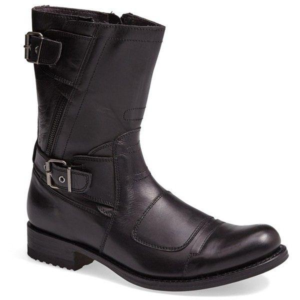 Men's Sendra 'Moto' Boot ($335) ❤ liked on Polyvore featuring men's fashion, men's shoes, men's boots, black, mens black leather shoes, mens black leather boots, mens black motorcycle boots, mens black shoes and mens biker boots