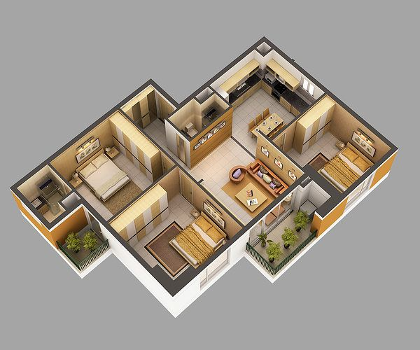 3d Model Home Interior Fully Furnished 3d Model Max 1 Rustic Apartment House Interior Design Pictures Model House Plan