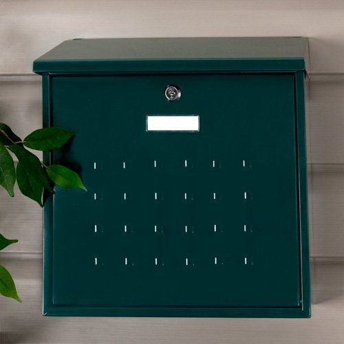Premium Maxi Locking Wall Mount Mailbox - Green Powder Coat by Maycreek. $39.95. With its raised square design, this mailbox provides a sizable width and is ideal for spacious home entrances. The Premium Maxi Mailbox is a perfect addition to any outdoor decor. Mailbox is made of galvanized steel to resist corrosion with a powder coat finish. Overall dimensions: 14-1/2 L x 4-5/8 W (front to back) x 14-3/8 H (± 1/2 ). Letter slot dimensions: 14-1/8 L x 1-1/4 H. Customizab...