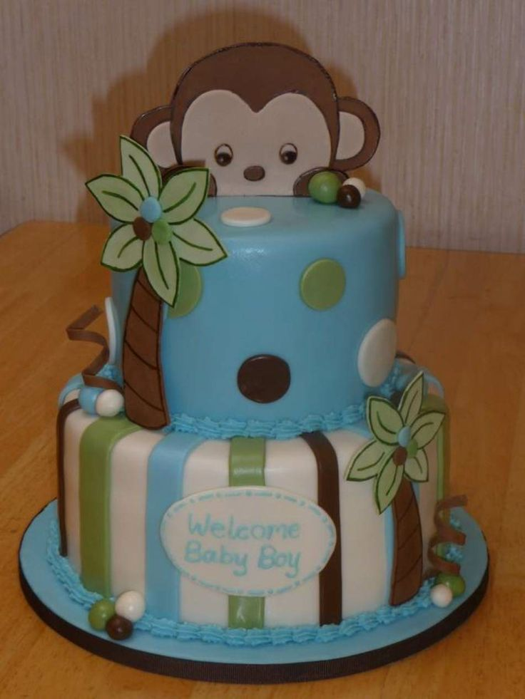 Baby Shower Monkey Decorations Part - 29: Peek-a-Boo Monkey - I Was Asked To Do A Baby Shower Cake Witht He  Peek-a-Boo Monkey Theme And This Is What I Designed. The Monkey And Palm  Trees Are ...