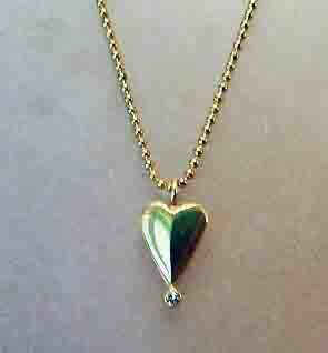 Felicity Peters Ideas for Valentine's Day Pendant 18ct gold 3.3 grams with Champagne Argyle diamond 6points  on gold plated silver chain
