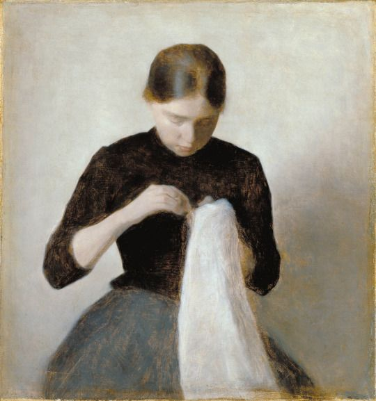 Vilhelm Hammershøi (1864-1916 Dannish) • Young Girl Sewing