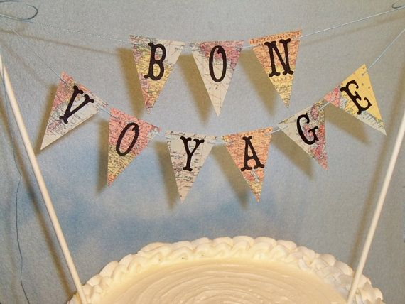 Wedding Cake Topper Banner  Bon Voyage Map by BethsBannerBoutique