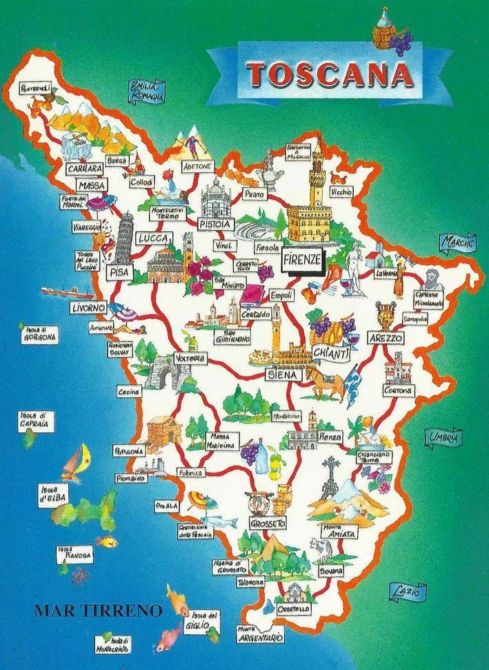 La Toscana In Italy Map Pergolarome Tuscany Map Map Of