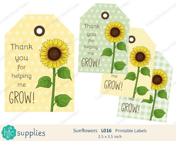 Sunflower Printable Labels  Thank you for helping me Grow - Teacher Appreciation gift tags, teaching assistant, tutor, Thank you tag. by hfcSupplies Etsy. Instant Download. Digital sheet.
